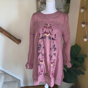 Umgee boutique pink embroidered floral dress M